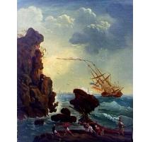 """Gemälde """"Schiffbruch"""". Vergoldeten rahmen."""