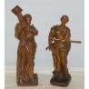 Paire de statuettes en bois sculpté