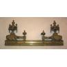 Paire de chenets Louis XVI en bronze,