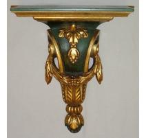 Console en bois sculpté peinte vert et