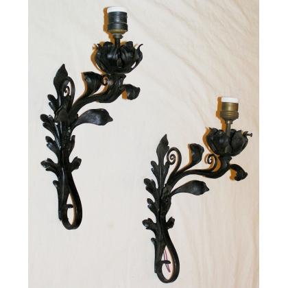 paire d 39 appliques fer forg sur moinat sa antiquit s d coration. Black Bedroom Furniture Sets. Home Design Ideas