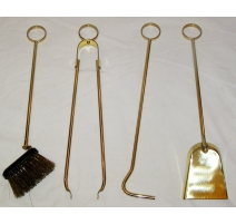 Set de 4 outils de cheminée en laiton