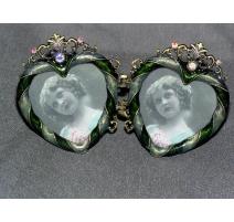 Duo de cadres  Coeur  en métal
