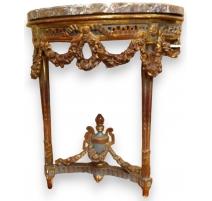 Console demi-lune Louis XVI. Dessus marbre.