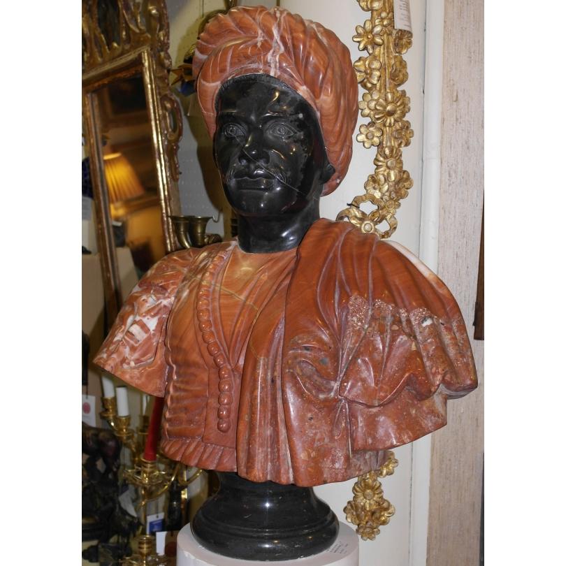 Buste homme marbre rouge et noir
