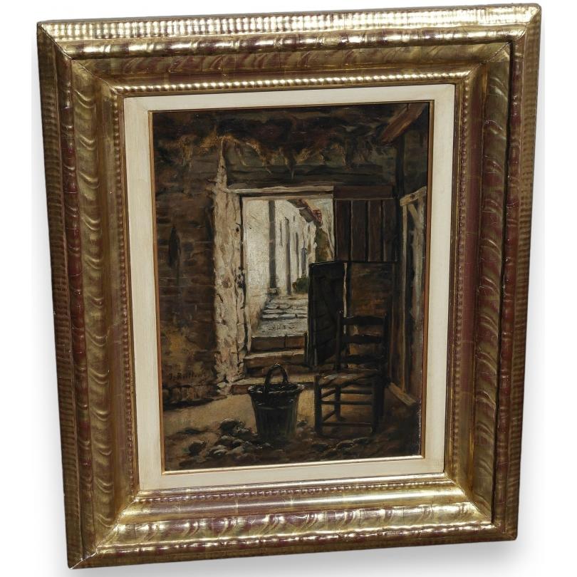 peintures tableau porte de ferme sign j rullens moinat sa antiquit s d coration. Black Bedroom Furniture Sets. Home Design Ideas