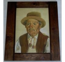 "Pastel ""Paysan Neuchâtelois"", signé J. BARRAUD"