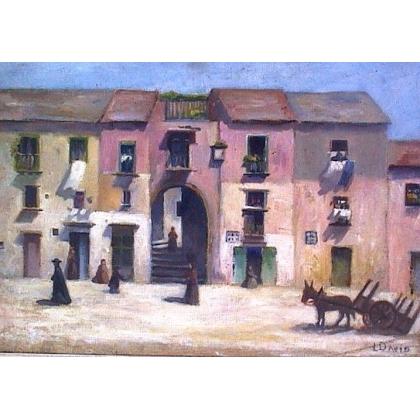 """Tableau """"Vue de village"""", signé L. DAVID."""