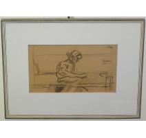 """Dessin """"La Filature"""", signé, daté 1899"""