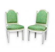 Paar stühle Louis XVI lackiert.