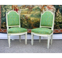 Pair of chairs Louis XVI lacquered.