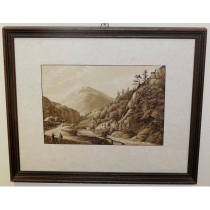 """Lavis """"Paysage de montagne"""""""