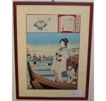 "Estampe japonaise ""Geisha-barque"""