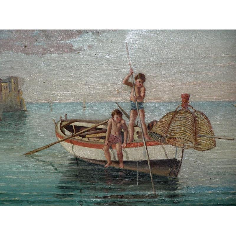 peintures huile sur bois vue de mer sign v moinat sa antiquit s d coration. Black Bedroom Furniture Sets. Home Design Ideas