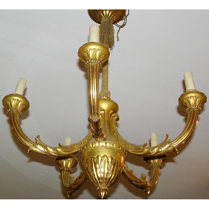 lustre en bois dor 5 lumi res sur moinat sa antiquit s d coration. Black Bedroom Furniture Sets. Home Design Ideas