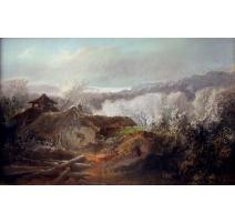Pastel  Paysage d'une Chaumière  par A. ROLLAND