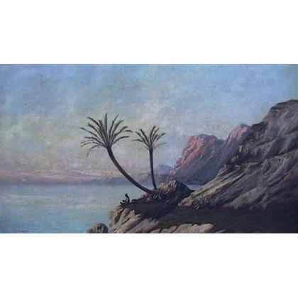 """Tableau """"Bord du Nil"""", signé J.D'IVERNOIS."""