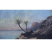 "Painting ""along the Nile"", signed J. D'IVERNOIS."