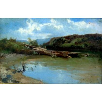 """Tableau """"Bord de l'Avre"""", daté 1886 au dos."""