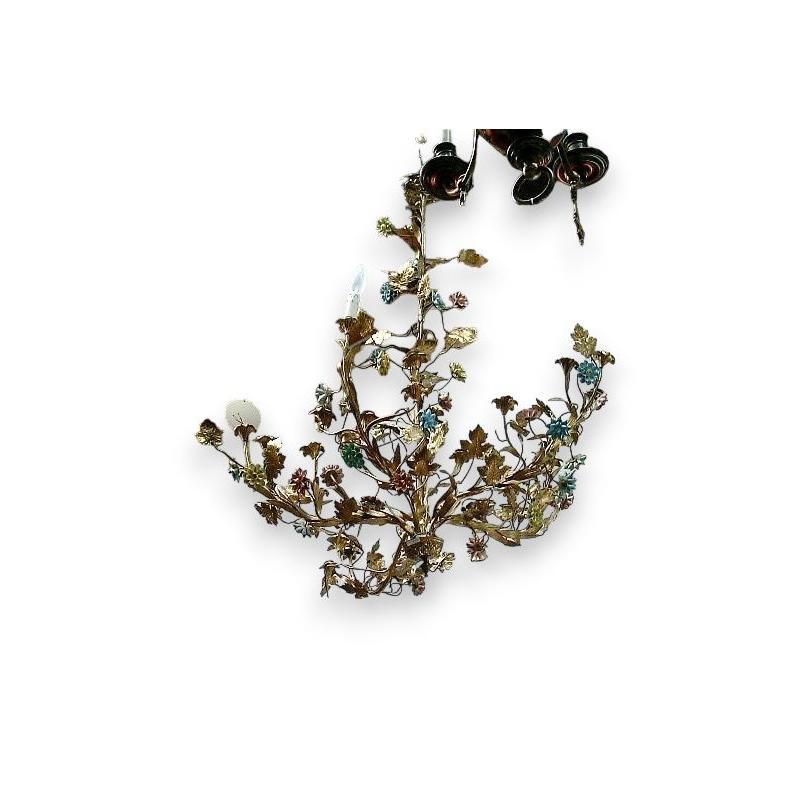 lustre avec d cor de fleurs sur moinat sa antiquit s. Black Bedroom Furniture Sets. Home Design Ideas