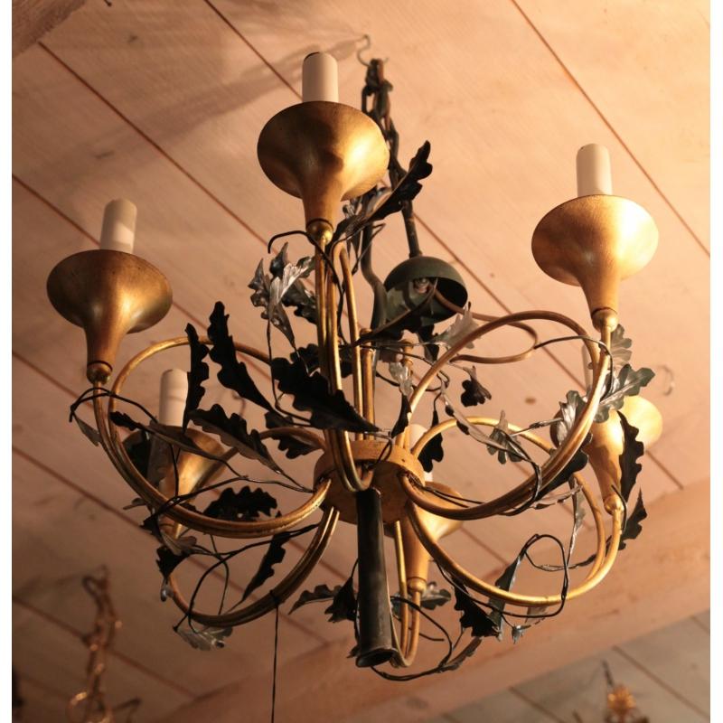 lustre cor de chasse en fer forg sur moinat sa antiquit s d coration. Black Bedroom Furniture Sets. Home Design Ideas