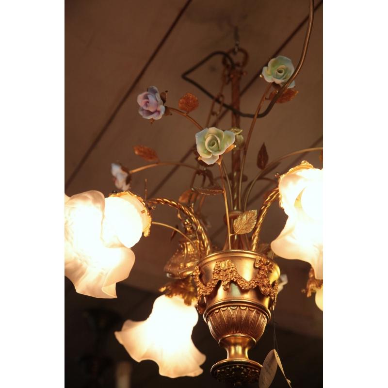 lustre bronze dor 4 lumi res fleurs sur moinat sa antiquit s d coration. Black Bedroom Furniture Sets. Home Design Ideas