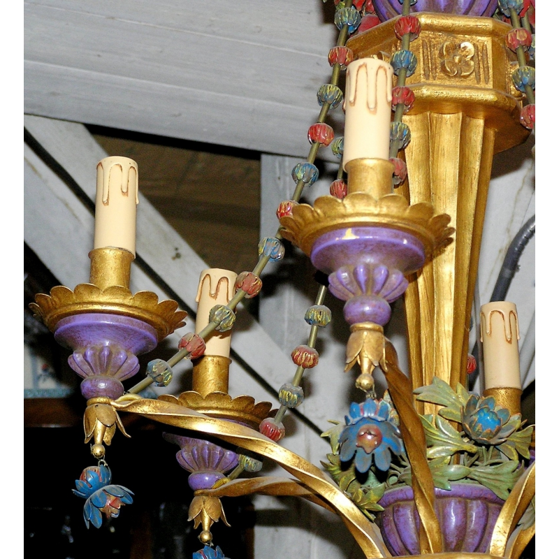 Lustre en bois dor polychrome et fer sur moinat sa antiquit s d coration - Lustre en bois ...