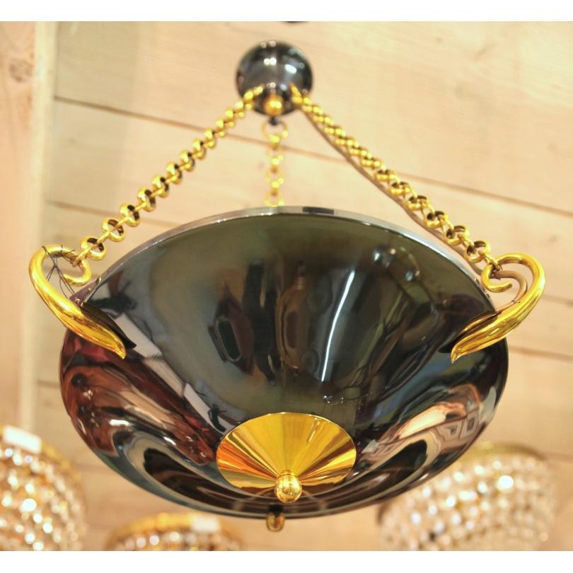 lustre halog ne style empire en laiton sur moinat sa antiquit s d coration. Black Bedroom Furniture Sets. Home Design Ideas