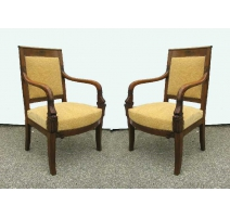 Pair of armchairs Empire dolphin.