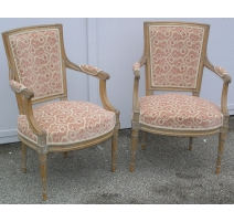 Paire de fauteuils Louis XVI laqués.