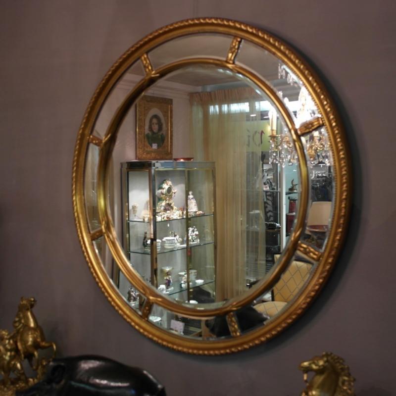 Miroir rond cloisons et verre sur moinat sa antiquit s - Miroir agrandir piece ...