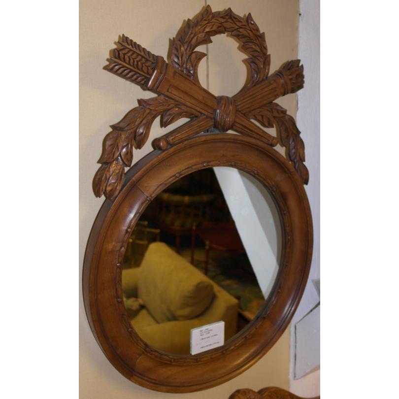 Miroir rond en ch ne sur moinat sa antiquit s d coration for Miroir chene