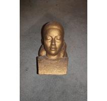 Buste Jeune fille en plâtre doré de Pierre BOREL