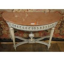 Console Louis XVI laquée bois sculpté,
