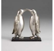 """Bronze """"Couple de pingouins"""" argenté,"""