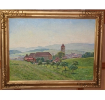 """Table """"View of Porrentruy"""", signed."""