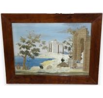 """Peinture sur soie brodée """"Bord de lac et ruines"""""""