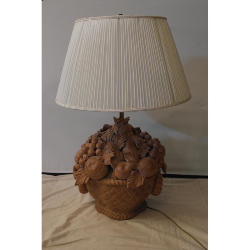 lampe italienne en terre cuite panier sur moinat sa antiquit s d coration. Black Bedroom Furniture Sets. Home Design Ideas