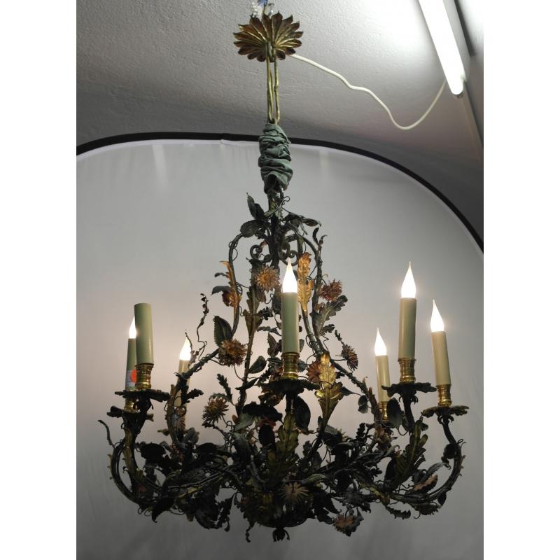 lustre italien en fer peint sur moinat sa antiquit s d coration. Black Bedroom Furniture Sets. Home Design Ideas