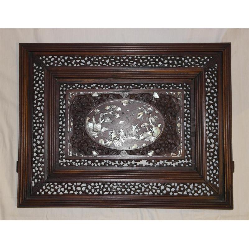 panneau chinois en acajou incrust de sur moinat sa antiquit s d coration. Black Bedroom Furniture Sets. Home Design Ideas