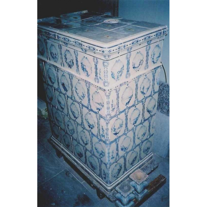 po le en fa ence d cor bleu blanc sur moinat sa antiquit s d coration. Black Bedroom Furniture Sets. Home Design Ideas