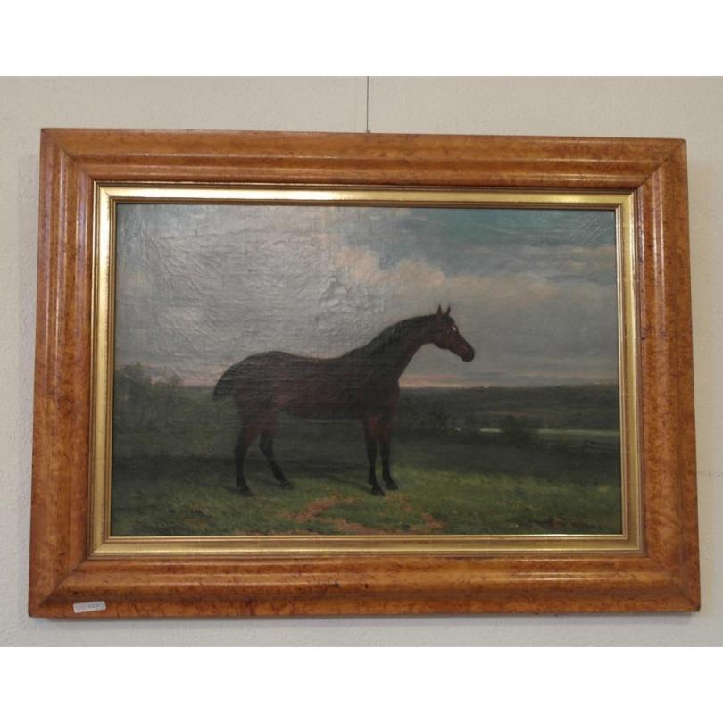 huile sur toile cheval cadre en bois moinat sa antiquit s d coration. Black Bedroom Furniture Sets. Home Design Ideas