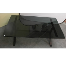 Table basse en fer, plateau en verre