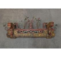 Elément de charrette Sicilien sculpté polychrome