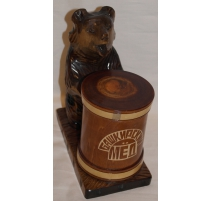 """Boite à miel """"ours"""" en bois sculpté,"""