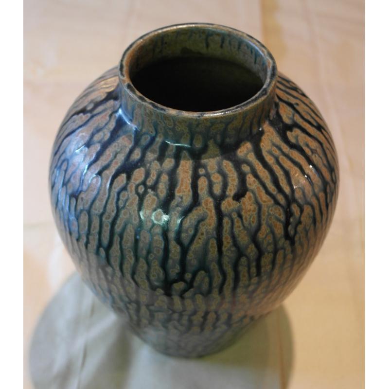 vase en c ramique bleue sur moinat sa antiquit s d coration. Black Bedroom Furniture Sets. Home Design Ideas