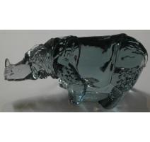 Rhinocéros en verre Svenskt Glas signé