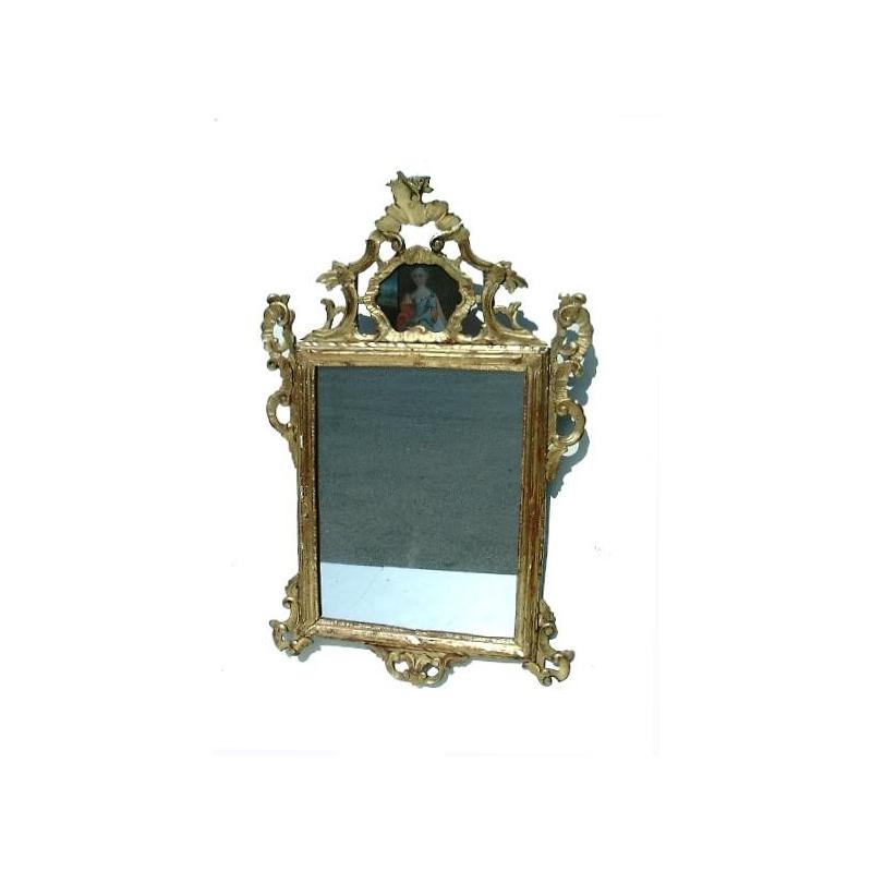 miroir baroque en bois sculpt et dor sur moinat sa antiquit s d coration. Black Bedroom Furniture Sets. Home Design Ideas