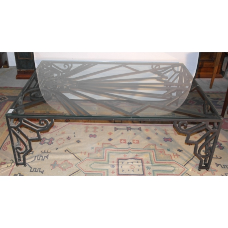 Table basse art d co en fer forg sur moinat sa - Console art deco fer forge ...