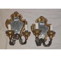 Paire d'appliques-miroirs à 2 lumières